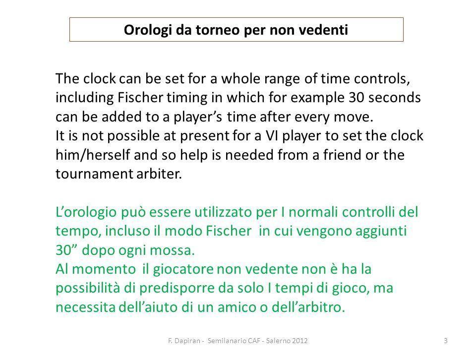 F. Dapiran - Semilanario CAF - Salerno 20123 Orologi da torneo per non vedenti The clock can be set for a whole range of time controls, including Fisc