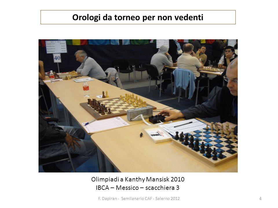 F. Dapiran - Semilanario CAF - Salerno 20124 Orologi da torneo per non vedenti Olimpiadi a Kanthy Mansisk 2010 IBCA – Messico – scacchiera 3