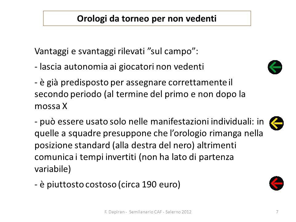 F. Dapiran - Semilanario CAF - Salerno 20127 Orologi da torneo per non vedenti Vantaggi e svantaggi rilevati sul campo: - lascia autonomia ai giocator