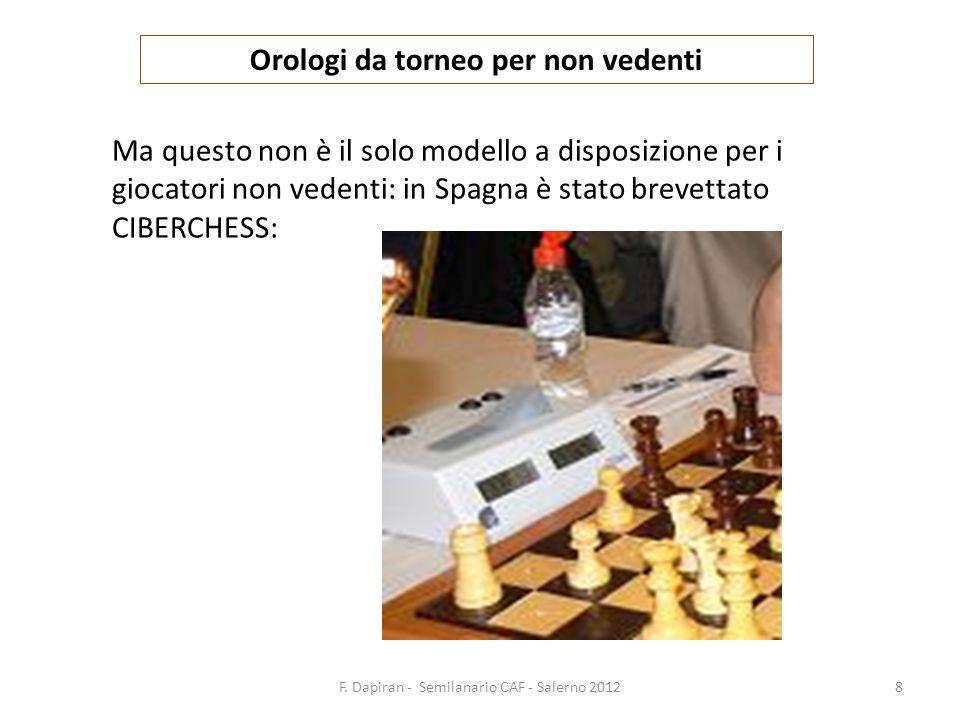 F. Dapiran - Semilanario CAF - Salerno 20128 Orologi da torneo per non vedenti Ma questo non è il solo modello a disposizione per i giocatori non vede