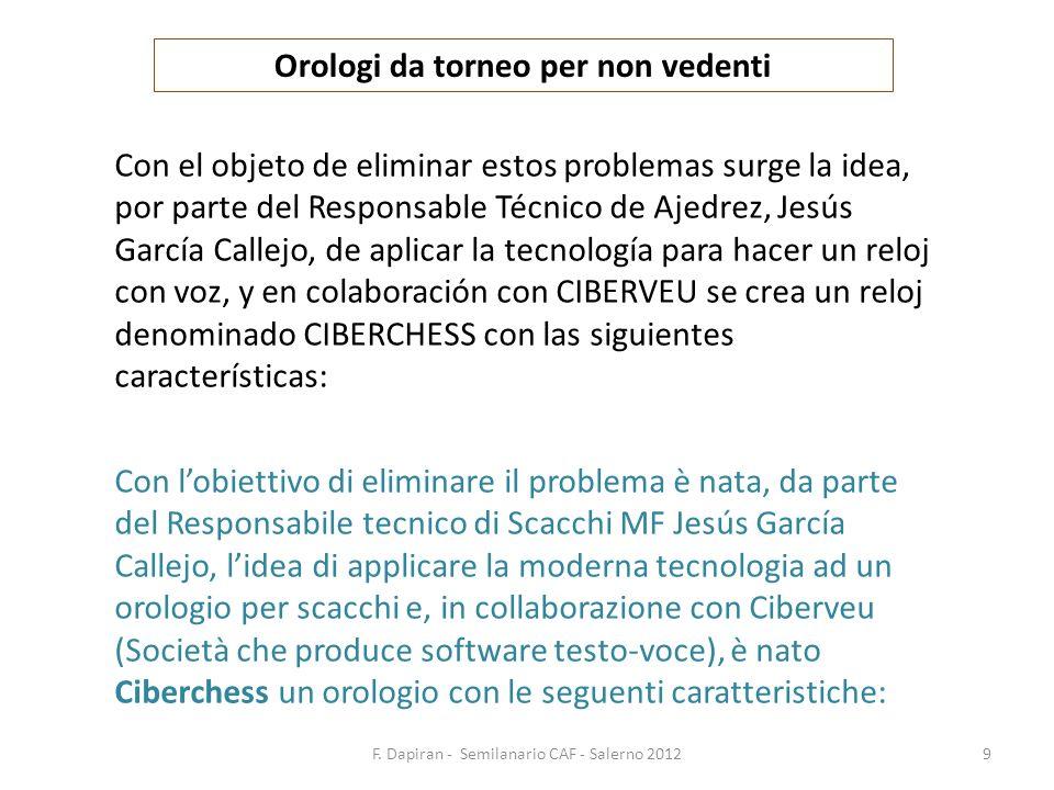 F. Dapiran - Semilanario CAF - Salerno 20129 Orologi da torneo per non vedenti Con el objeto de eliminar estos problemas surge la idea, por parte del