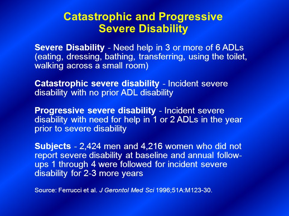 Catastrophic and Progressive Severe Disability Severe Disability - Need help in 3 or more of 6 ADLs (eating, dressing, bathing, transferring, using th
