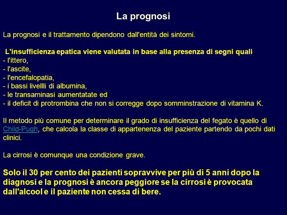 La prognosi La prognosi e il trattamento dipendono dall'entità dei sintomi. L'insufficienza epatica viene valutata in base alla presenza di segni qual