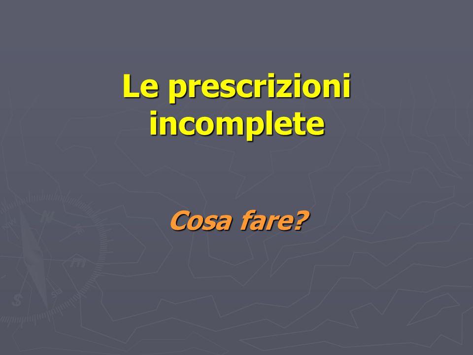 Un esempio di prescrizione incompleta… Triniplascerottotopica Dalle 8-20 Inizio 5/10/05 Fine Dott Rossi