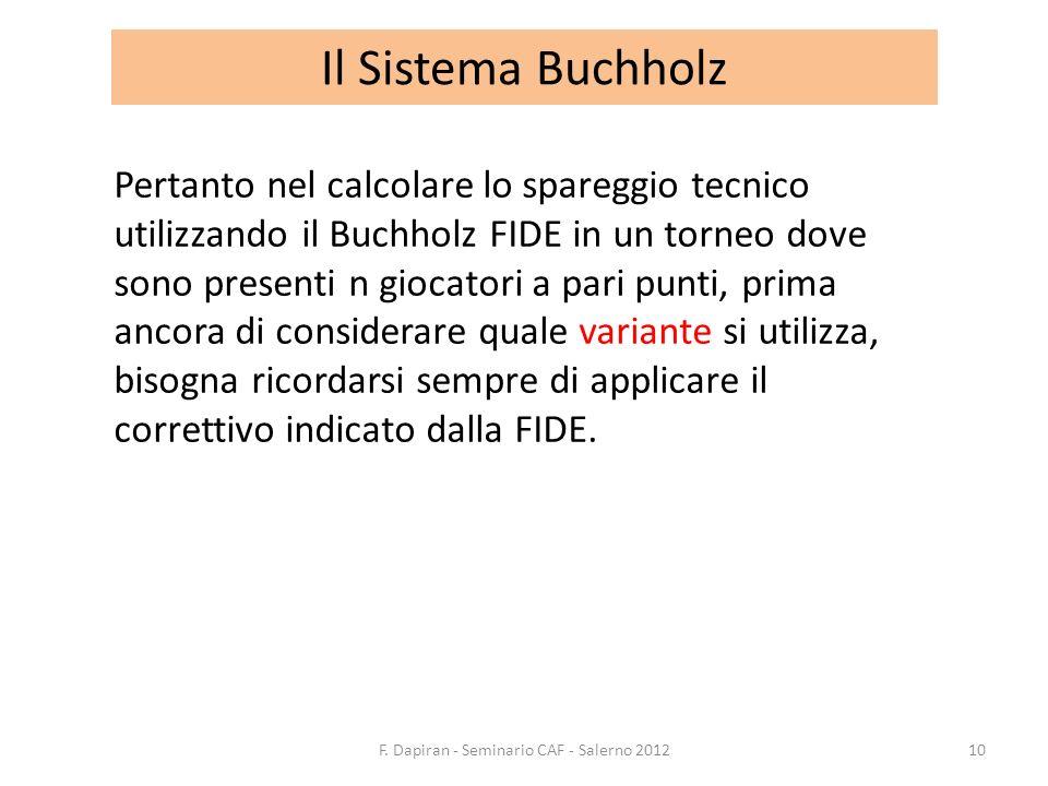 Il Sistema Buchholz Pertanto nel calcolare lo spareggio tecnico utilizzando il Buchholz FIDE in un torneo dove sono presenti n giocatori a pari punti,