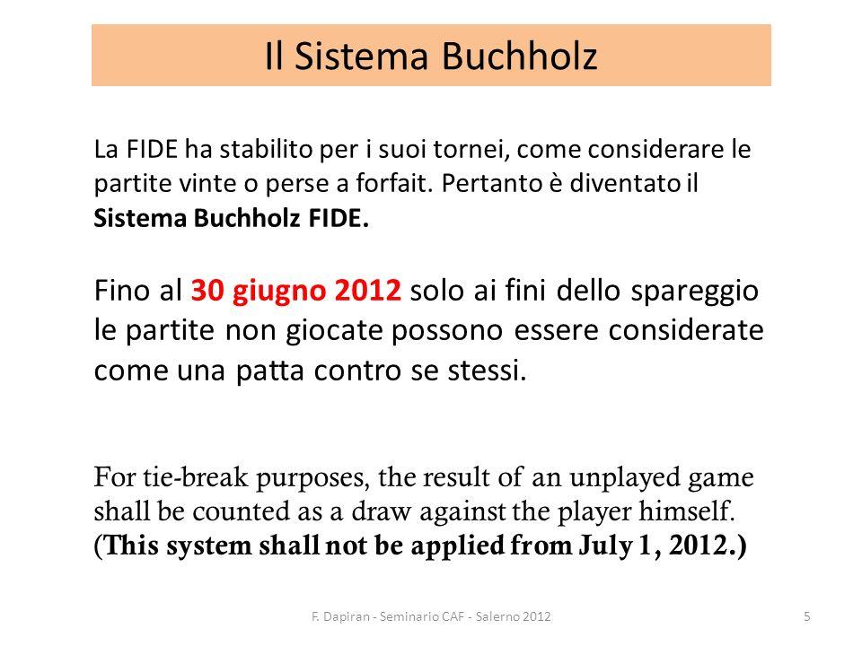 Il Sistema Buchholz La FIDE ha stabilito per i suoi tornei, come considerare le partite vinte o perse a forfait. Pertanto è diventato il Sistema Buchh
