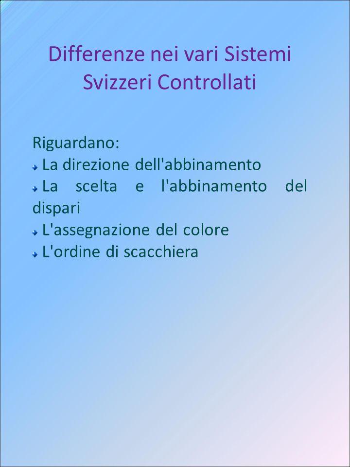Differenze nei vari Sistemi Svizzeri Controllati Riguardano: La direzione dell'abbinamento La scelta e l'abbinamento del dispari L'assegnazione del co