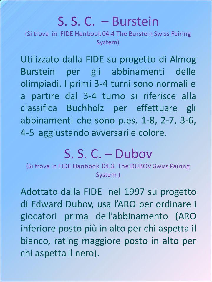 S. S. C. – Burstein (Si trova in FIDE Hanbook 04.4 The Burstein Swiss Pairing System) Utilizzato dalla FIDE su progetto di Almog Burstein per gli abbi