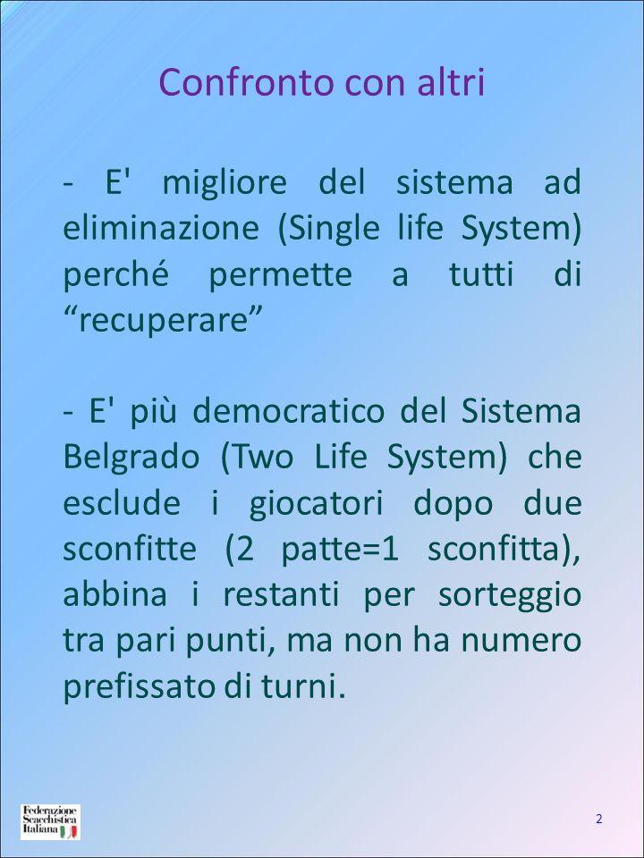 2 Confronto con altri - E' migliore del sistema ad eliminazione (Single life System) perché permette a tutti di recuperare - E' più democratico del Si