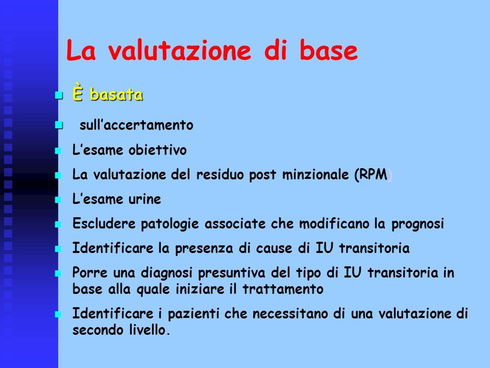 La valutazione di base È basata È basata sullaccertamento Lesame obiettivo La valutazione del residuo post minzionale (RPM)) Lesame urine Escludere pa