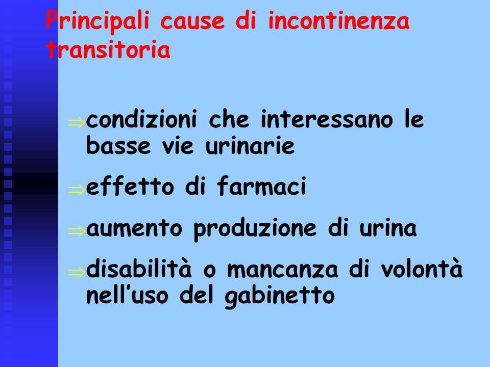 Principali cause di incontinenza transitoria condizioni che interessano le basse vie urinarie effetto di farmaci aumento produzione di urina disabilit