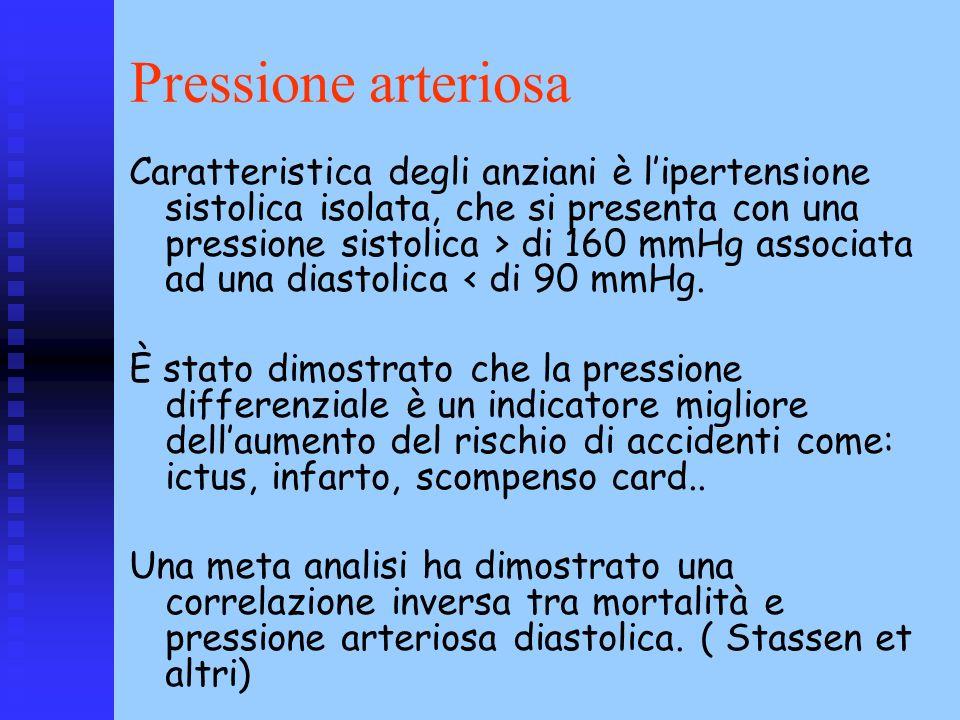 Pressione arteriosa Caratteristica degli anziani è lipertensione sistolica isolata, che si presenta con una pressione sistolica > di 160 mmHg associat