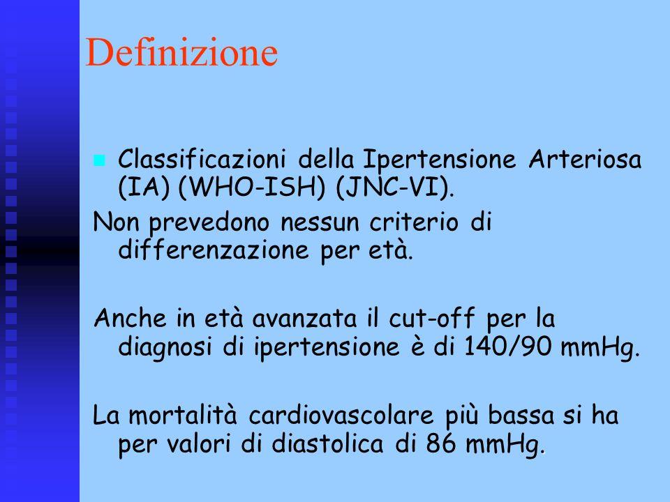 Definizione Classificazioni della Ipertensione Arteriosa (IA) (WHO-ISH) (JNC-VI). Non prevedono nessun criterio di differenzazione per età. Anche in e