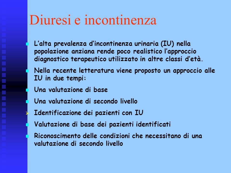 Diuresi e incontinenza Lalta prevalenza dincontinenza urinaria (IU) nella popolazione anziana rende poco realistico lapproccio diagnostico terapeutico
