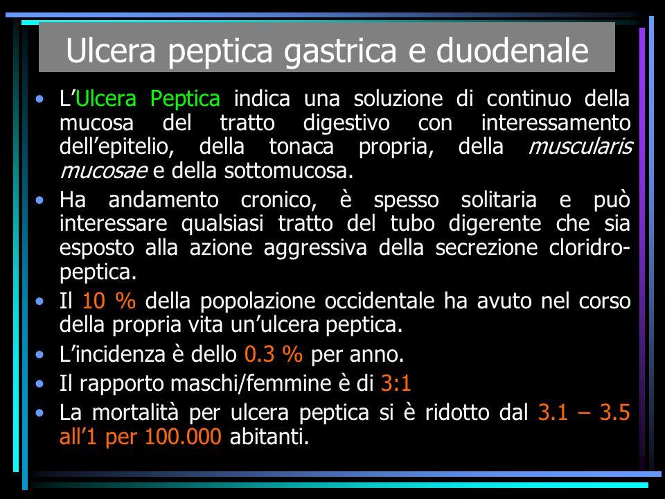 Ulcera peptica gastrica e duodenale LUlcera Peptica indica una soluzione di continuo della mucosa del tratto digestivo con interessamento dellepitelio