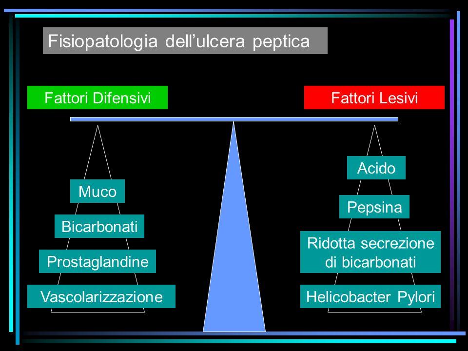 Muco Bicarbonati Prostaglandine Vascolarizzazione Acido Pepsina Ridotta secrezione di bicarbonati Helicobacter Pylori Fattori DifensiviFattori Lesivi