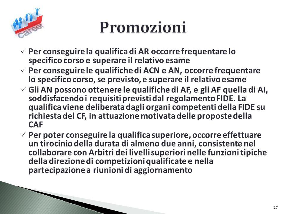 Per conseguire la qualifica di AR occorre frequentare lo specifico corso e superare il relativo esame Per conseguire le qualifiche di ACN e AN, occorre frequentare lo specifico corso, se previsto, e superare il relativo esame Gli AN possono ottenere le qualifiche di AF, e gli AF quella di AI, soddisfacendo i requisiti previsti dal regolamento FIDE.