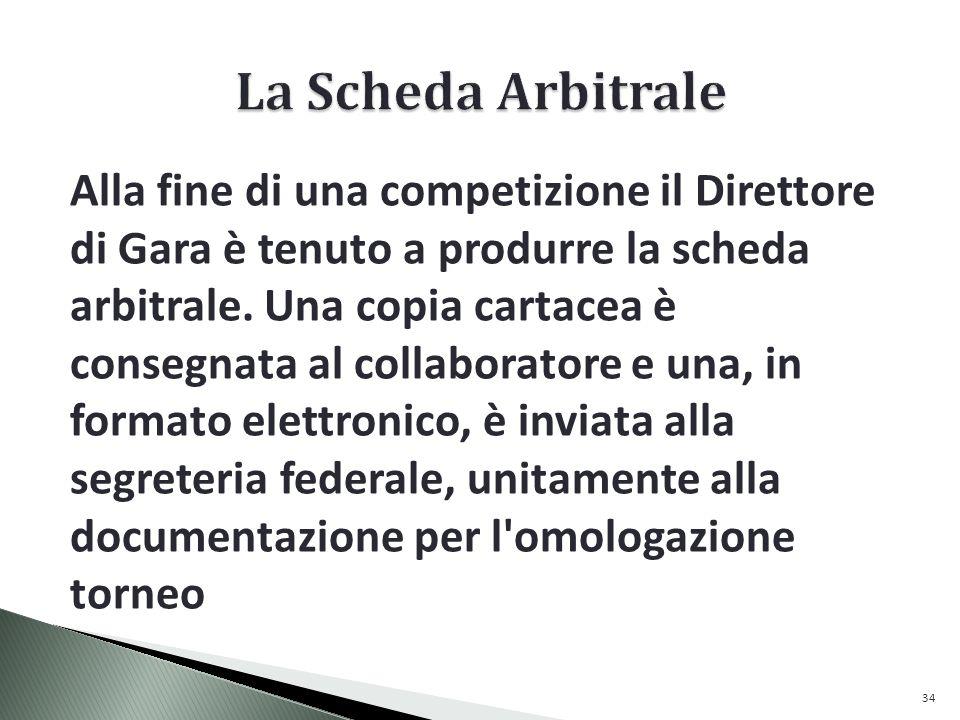 Alla fine di una competizione il Direttore di Gara è tenuto a produrre la scheda arbitrale.