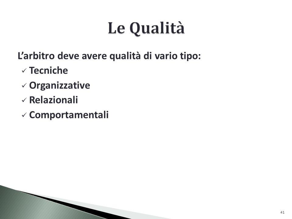 Larbitro deve avere qualità di vario tipo: Tecniche Organizzative Relazionali Comportamentali 41