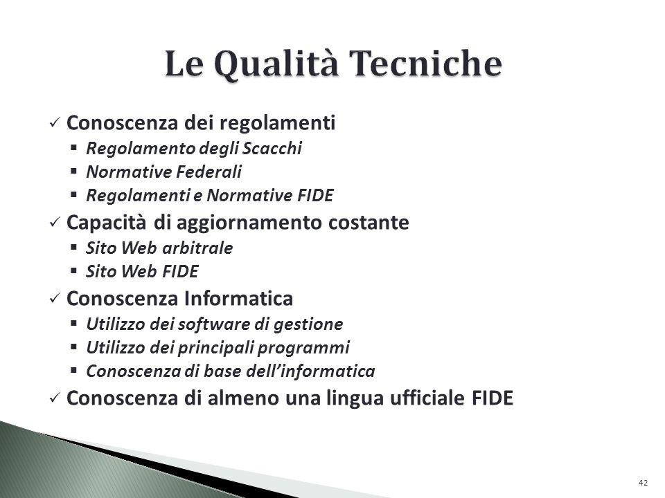 Conoscenza dei regolamenti Regolamento degli Scacchi Normative Federali Regolamenti e Normative FIDE Capacità di aggiornamento costante Sito Web arbitrale Sito Web FIDE Conoscenza Informatica Utilizzo dei software di gestione Utilizzo dei principali programmi Conoscenza di base dellinformatica Conoscenza di almeno una lingua ufficiale FIDE 42