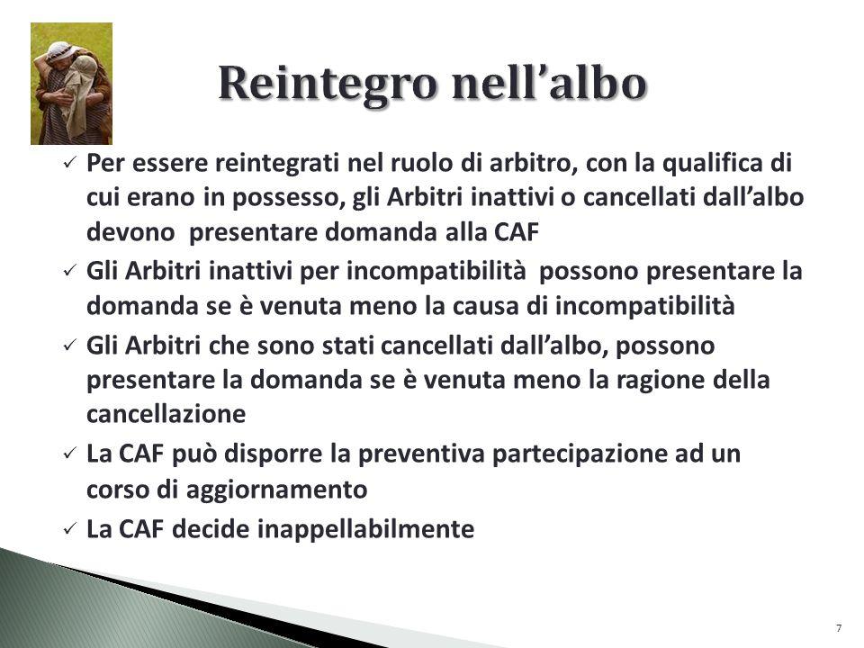 Per essere reintegrati nel ruolo di arbitro, con la qualifica di cui erano in possesso, gli Arbitri inattivi o cancellati dallalbo devono presentare domanda alla CAF Gli Arbitri inattivi per incompatibilità possono presentare la domanda se è venuta meno la causa di incompatibilità Gli Arbitri che sono stati cancellati dallalbo, possono presentare la domanda se è venuta meno la ragione della cancellazione La CAF può disporre la preventiva partecipazione ad un corso di aggiornamento La CAF decide inappellabilmente 7