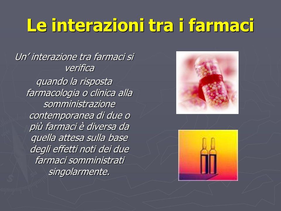 Le interazioni tra i farmaci Un interazione tra farmaci si verifica quando la risposta farmacologia o clinica alla somministrazione contemporanea di d