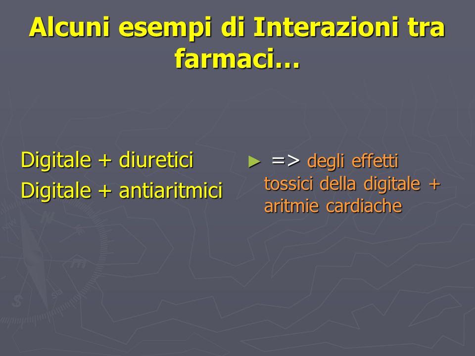 Alcuni esempi di Interazioni tra farmaci… Digitale + diuretici Digitale + antiaritmici => degli effetti tossici della digitale + aritmie cardiache