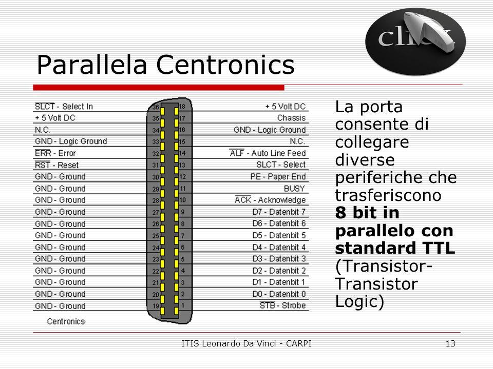ITIS Leonardo Da Vinci - CARPI13 Parallela Centronics La porta consente di collegare diverse periferiche che trasferiscono 8 bit in parallelo con stan