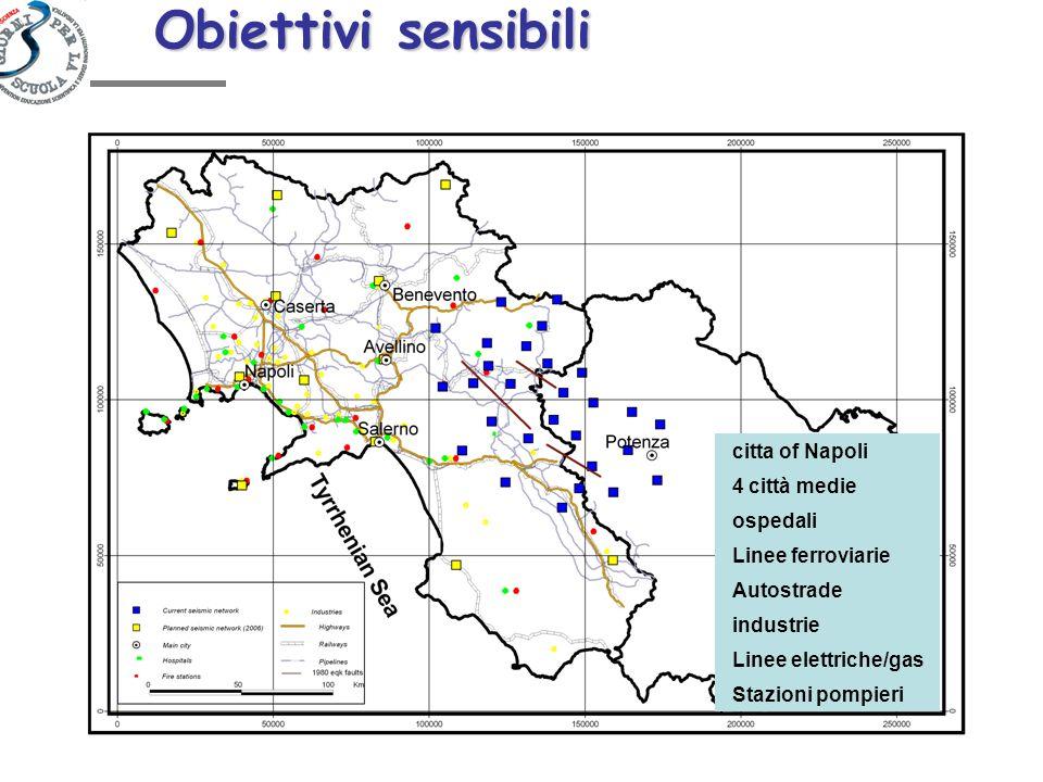 Obiettivi sensibili citta of Napoli ospedali Stazioni pompieri Linee elettriche/gas industrie Linee ferroviarie Autostrade 4 città medie