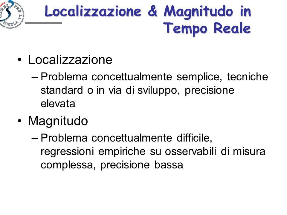 Localizzazione & Magnitudo in Tempo Reale Localizzazione –Problema concettualmente semplice, tecniche standard o in via di sviluppo, precisione elevat