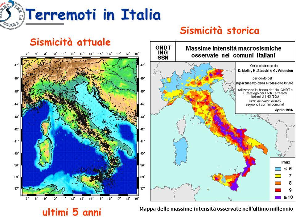 Sismicità attuale Sismicità storica Mappa delle massime intensità osservate nellultimo millennio ultimi 5 anni Terremoti in Italia