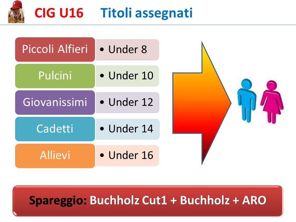 CIG U16 Titoli assegnati Under 8 Piccoli Alfieri Under 10 Pulcini Under 12 Giovanissimi Under 14 Cadetti Under 16 Allievi Spareggio: Buchholz Cut1 + Buchholz + ARO