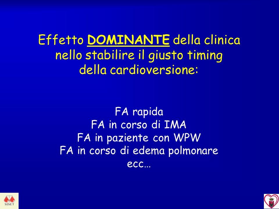 Effetto DOMINANTE della clinica nello stabilire il giusto timing della cardioversione: FA rapida FA in corso di IMA FA in paziente con WPW FA in corso