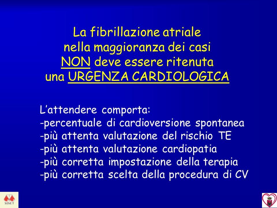 La fibrillazione atriale nella maggioranza dei casi NON deve essere ritenuta una URGENZA CARDIOLOGICA Lattendere comporta: -percentuale di cardioversi