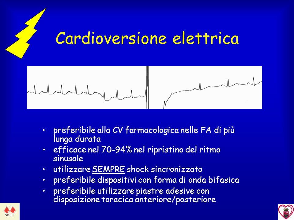 Cardioversione elettrica preferibile alla CV farmacologica nelle FA di più lunga durata efficace nel 70-94% nel ripristino del ritmo sinusale utilizza