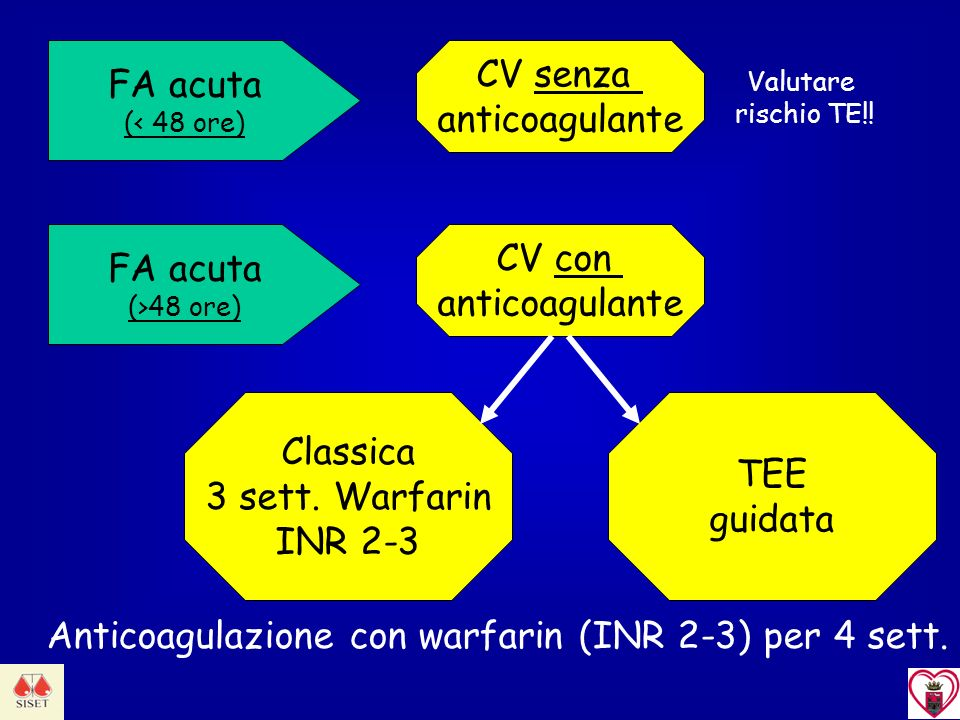 FA acuta (< 48 ore) FA acuta (>48 ore) CV senza anticoagulante CV con anticoagulante Classica 3 sett. Warfarin INR 2-3 TEE guidata Anticoagulazione co