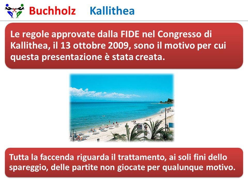 Buchholz Kallithea Le regole approvate dalla FIDE nel Congresso di Kallithea, il 13 ottobre 2009, sono il motivo per cui questa presentazione è stata