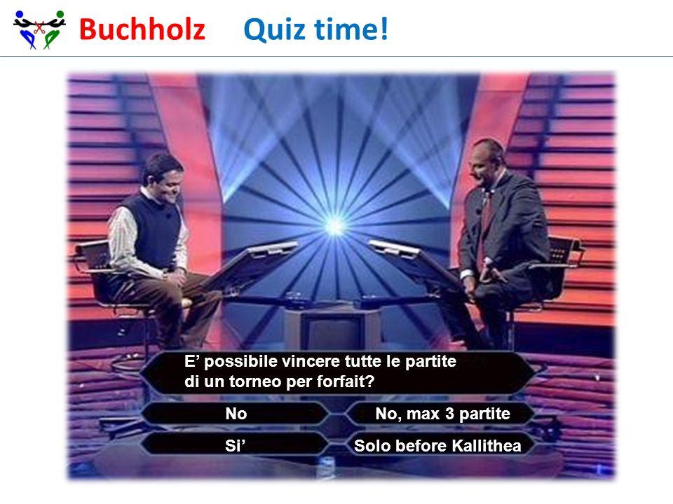 Buchholz Quiz time! E possibile vincere tutte le partite di un torneo per forfait? No, max 3 partiteNo Solo before Kallithea Si