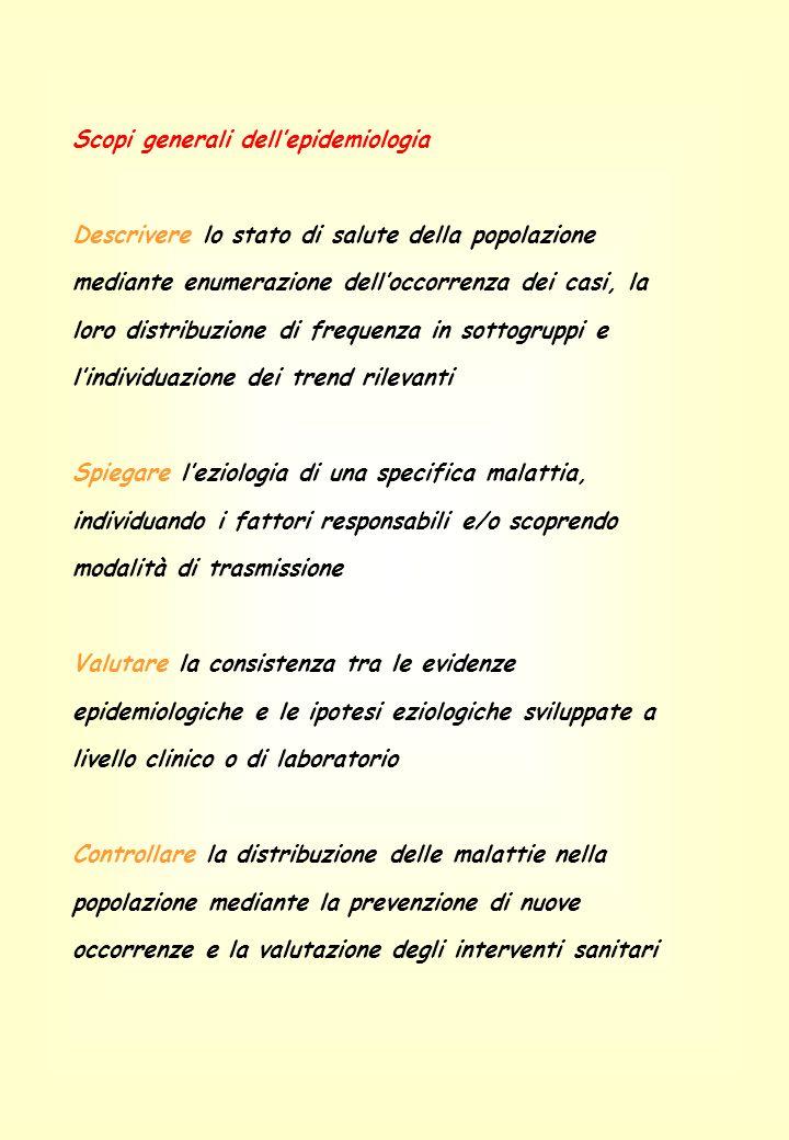 Scopi generali dellepidemiologia Descrivere lo stato di salute della popolazione mediante enumerazione delloccorrenza dei casi, la loro distribuzione