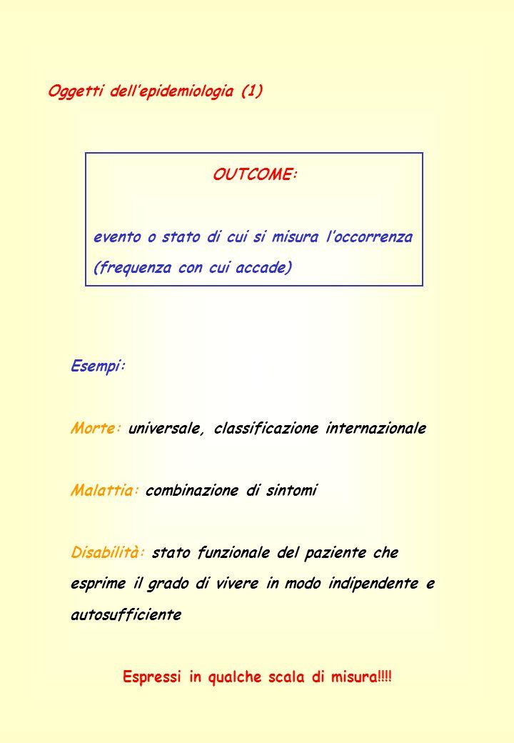Oggetti dellepidemiologia (1) OUTCOME: evento o stato di cui si misura loccorrenza (frequenza con cui accade) Esempi: Morte: universale, classificazio