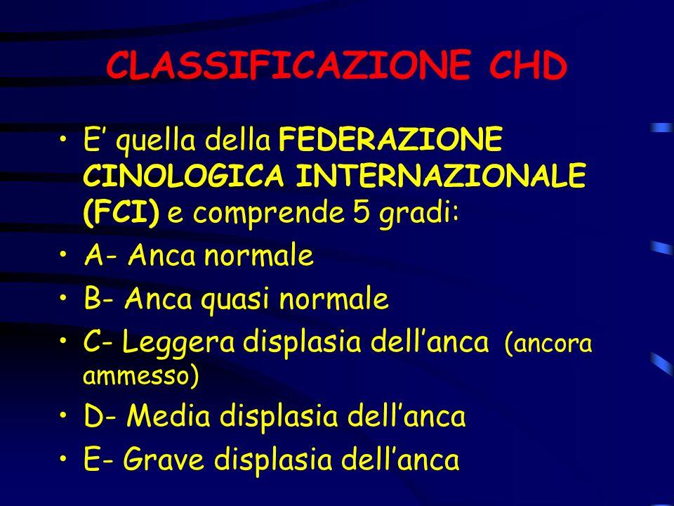 CLASSIFICAZIONE CHD E quella della FEDERAZIONE CINOLOGICA INTERNAZIONALE (FCI) e comprende 5 gradi: A- Anca normale B- Anca quasi normale C- Leggera d