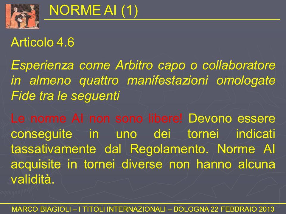 NORME AI (1) MARCO BIAGIOLI – I TITOLI INTERNAZIONALI – BOLOGNA 22 FEBBRAIO 2013 Articolo 4.6 Esperienza come Arbitro capo o collaboratore in almeno q