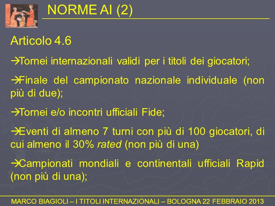 NORME AI (2) MARCO BIAGIOLI – I TITOLI INTERNAZIONALI – BOLOGNA 22 FEBBRAIO 2013 Articolo 4.6 Tornei internazionali validi per i titoli dei giocatori;
