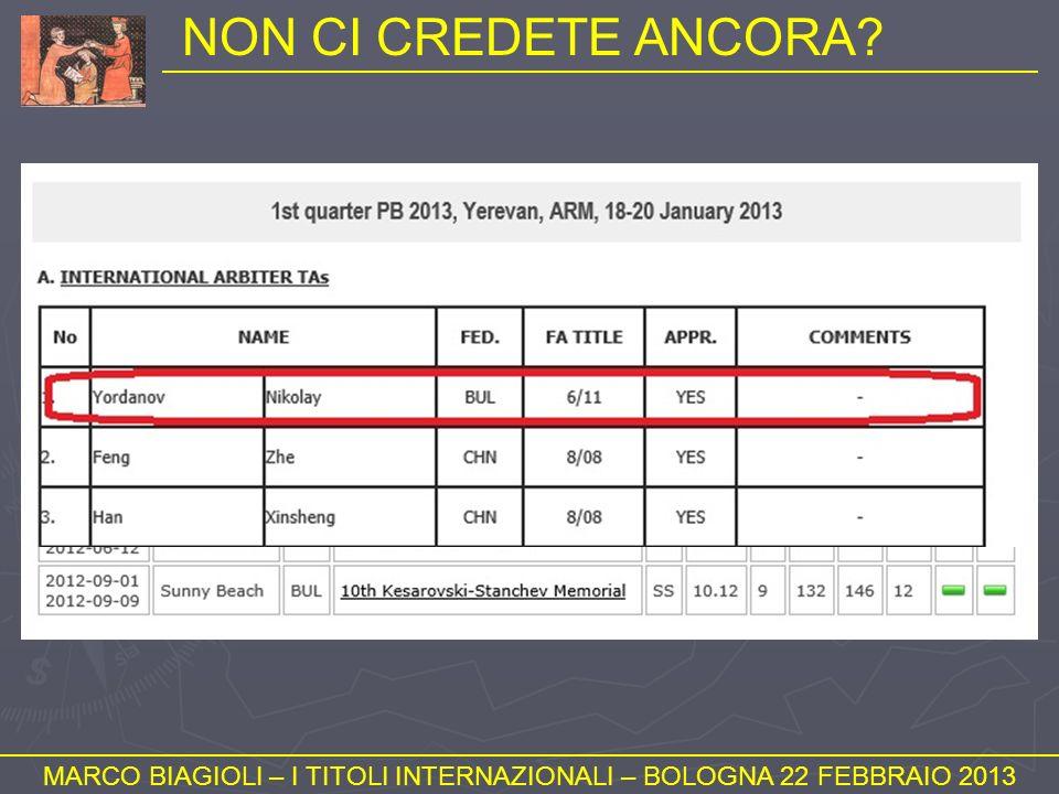 NON CI CREDETE ANCORA? MARCO BIAGIOLI – I TITOLI INTERNAZIONALI – BOLOGNA 22 FEBBRAIO 2013
