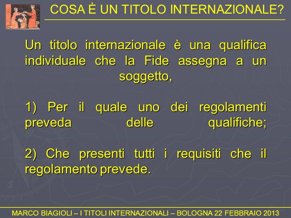NUMERO DI PARTITE (1) MARCO BIAGIOLI – I TITOLI INTERNAZIONALI – BOLOGNA 22 FEBBRAIO 2013 Vale quanto già detto sul numero di partite su cui si conteggia una norma.