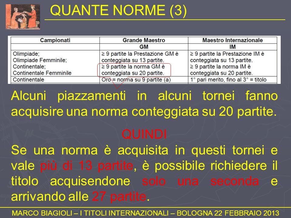 QUANTE NORME (3) MARCO BIAGIOLI – I TITOLI INTERNAZIONALI – BOLOGNA 22 FEBBRAIO 2013 Alcuni piazzamenti in alcuni tornei fanno acquisire una norma con