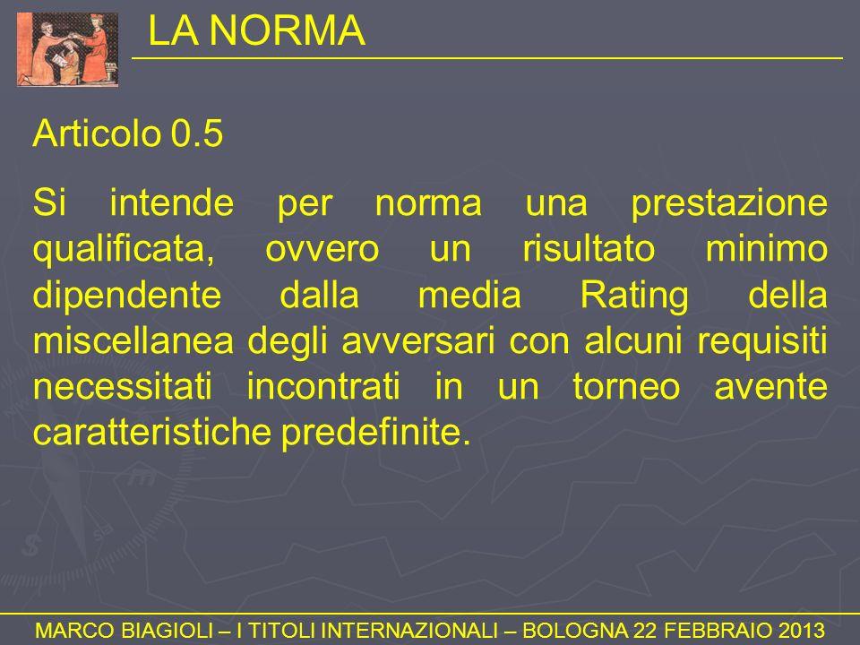 LA NORMA MARCO BIAGIOLI – I TITOLI INTERNAZIONALI – BOLOGNA 22 FEBBRAIO 2013 Articolo 0.5 Si intende per norma una prestazione qualificata, ovvero un
