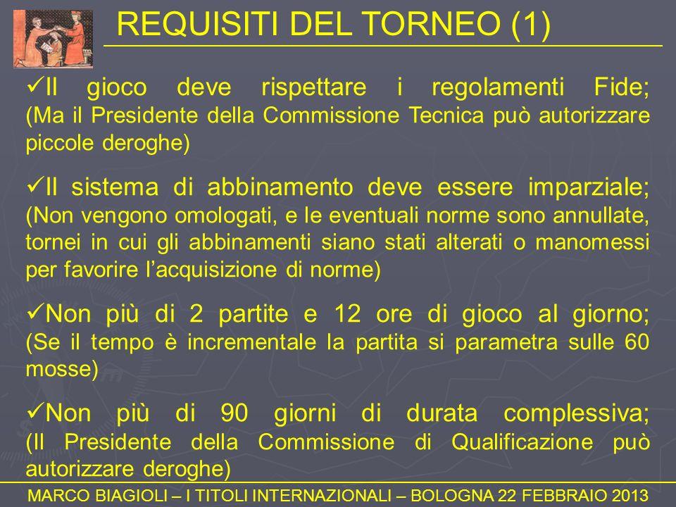 REQUISITI DEL TORNEO (1) MARCO BIAGIOLI – I TITOLI INTERNAZIONALI – BOLOGNA 22 FEBBRAIO 2013 Il gioco deve rispettare i regolamenti Fide; (Ma il Presi