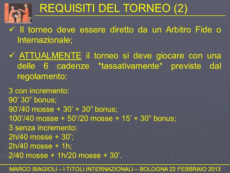 REQUISITI DEL TORNEO (2) MARCO BIAGIOLI – I TITOLI INTERNAZIONALI – BOLOGNA 22 FEBBRAIO 2013 Il torneo deve essere diretto da un Arbitro Fide o Intern