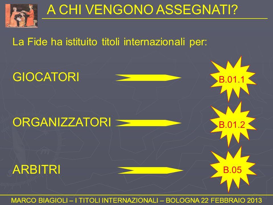 TITOLI DEGLI AVVERSARI (3) MARCO BIAGIOLI – I TITOLI INTERNAZIONALI – BOLOGNA 22 FEBBRAIO 2013 Articoli 1.45b-e PRINCIPIO GENERALE: 1/3 degli avversari incontrati, e comunque non meno di 3, devono essere già in possesso del titolo per cui si sta cercando di realizzare la norma.